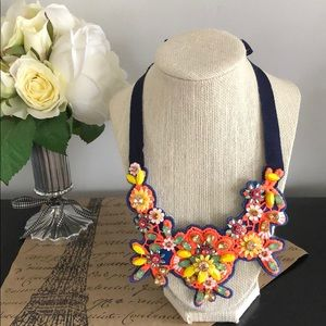 J. Crew Fabric backed neon statement necklace